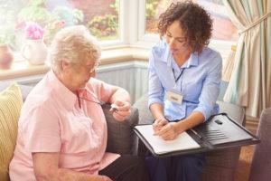 emergency fall button for senior woman